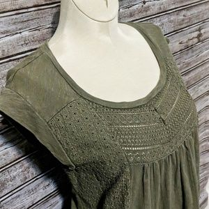 Lucky Brand | Hunter Green Washed Knit Top | Med